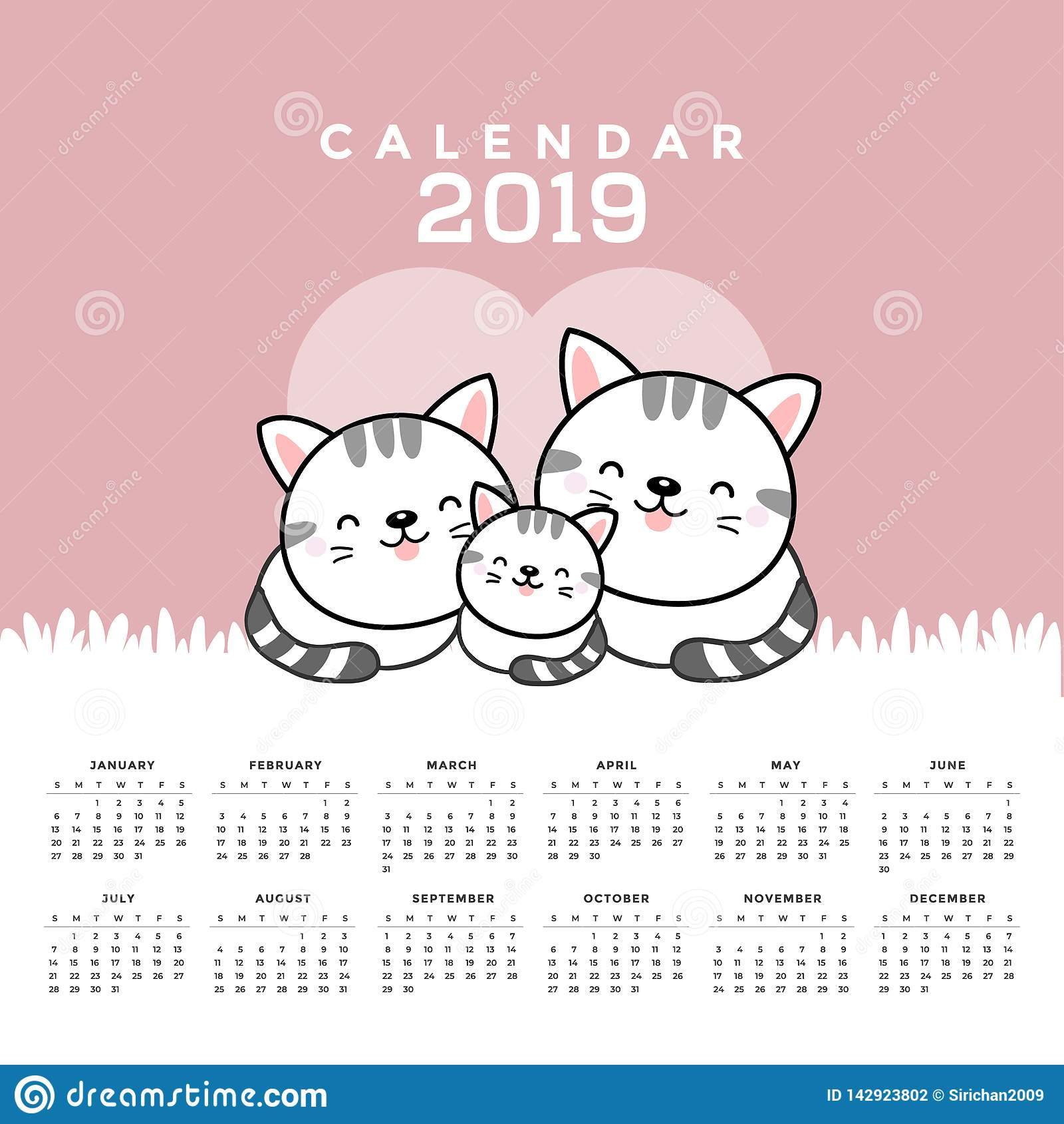 Calendrier 2019 avec les chats mignons