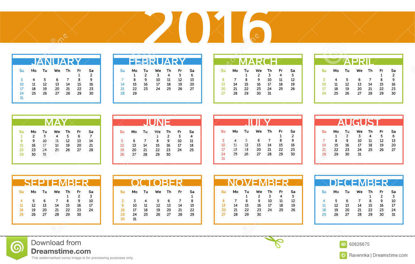 Calendrier color de l 39 ann e 2016 dans l 39 anglais illustration de vecteur image 60626675 - Photo de l annee ...