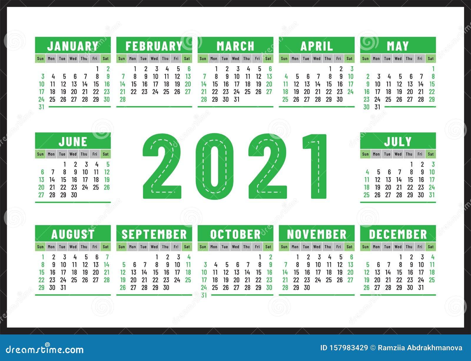 Calendrier 2021 Anglais Calendrier 2021 Conception Du Vecteur De Couleur Vert Anglais La