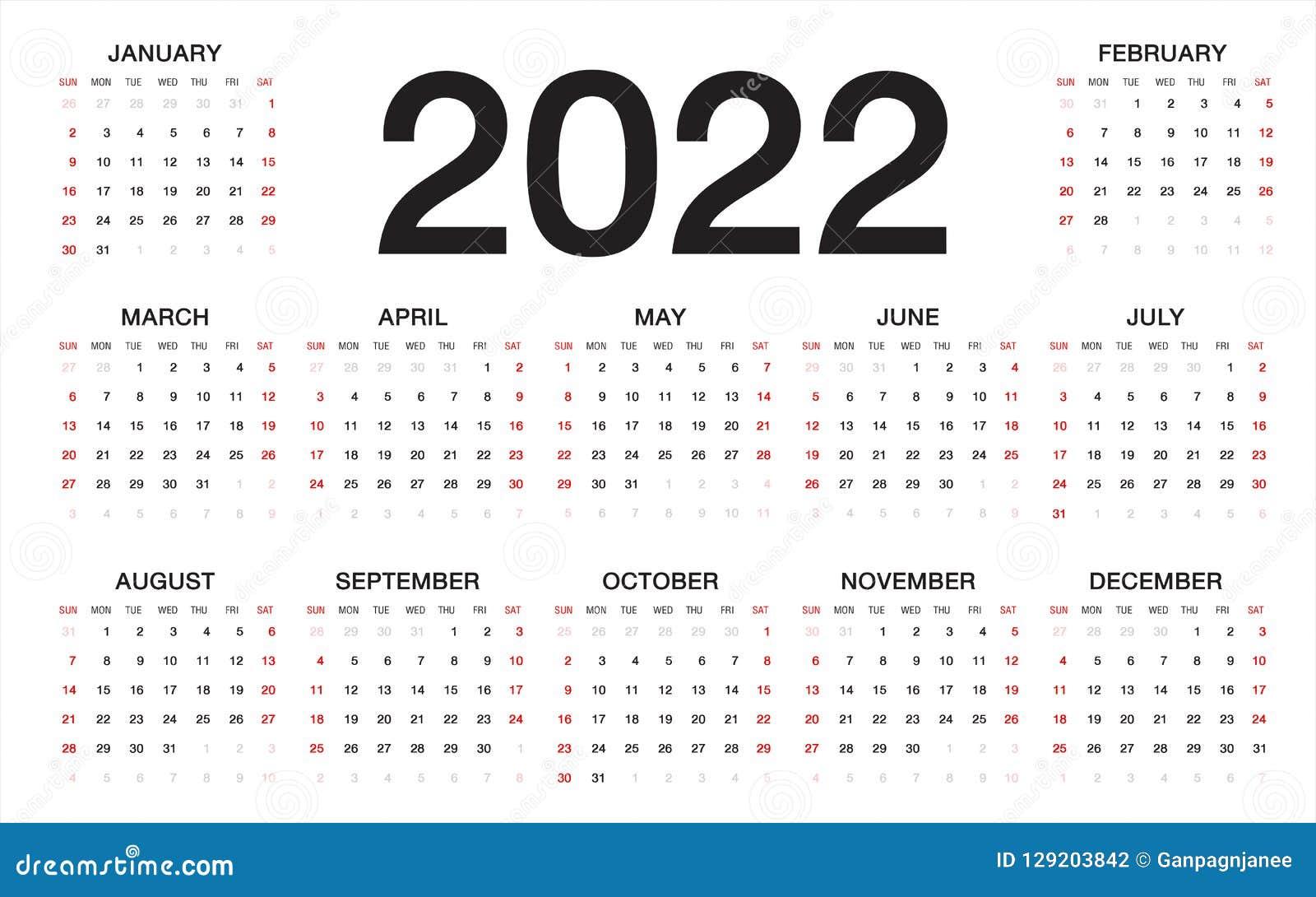 Calendrier 2022 2023 2022 Calendrier 2022, Débuts De Semaine Du Dimanche, Calibre D'affaires