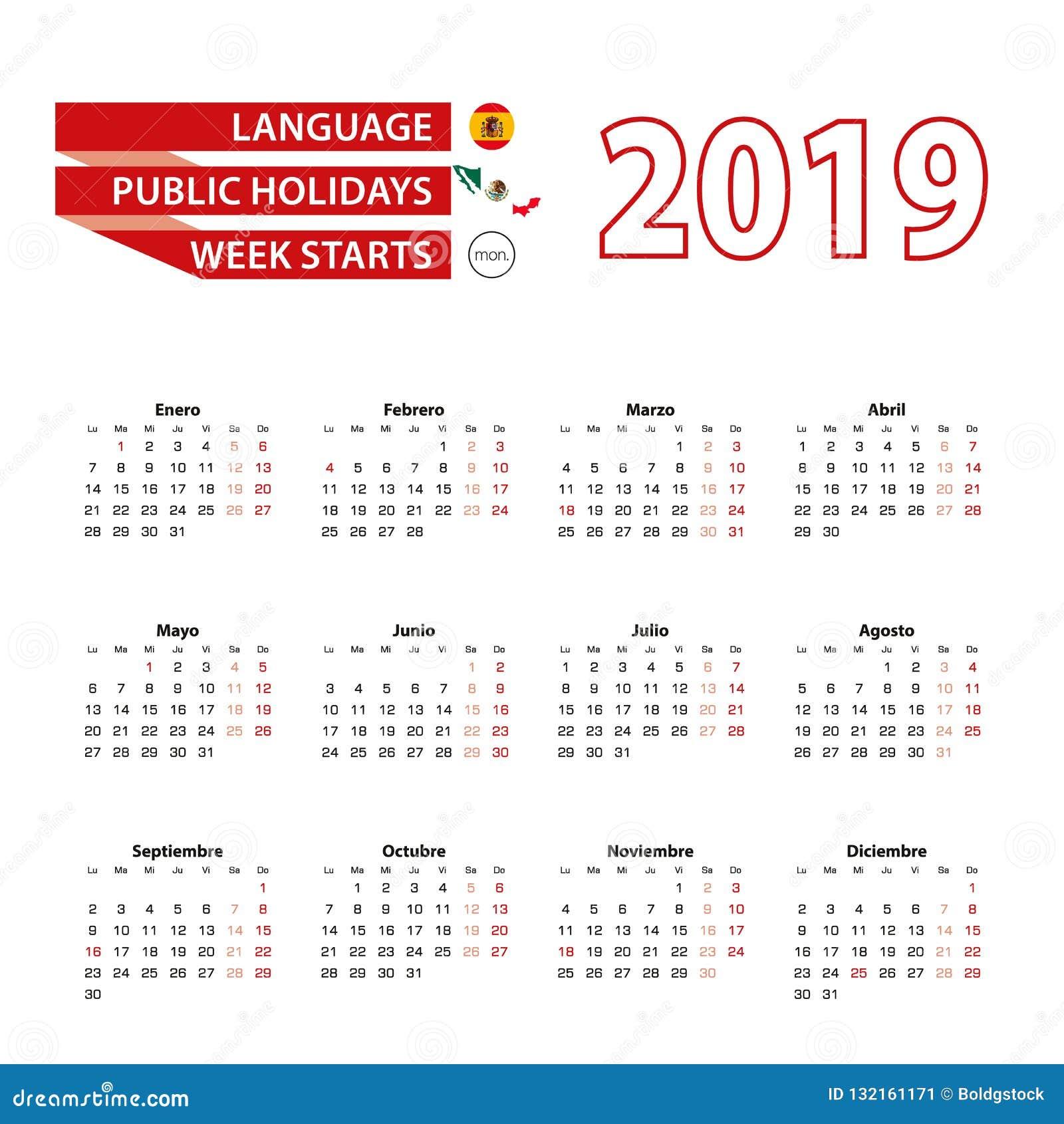Calendrier Feries 2019.Calendrier 2019 Dans La Langue Espagnole Avec Des Jours