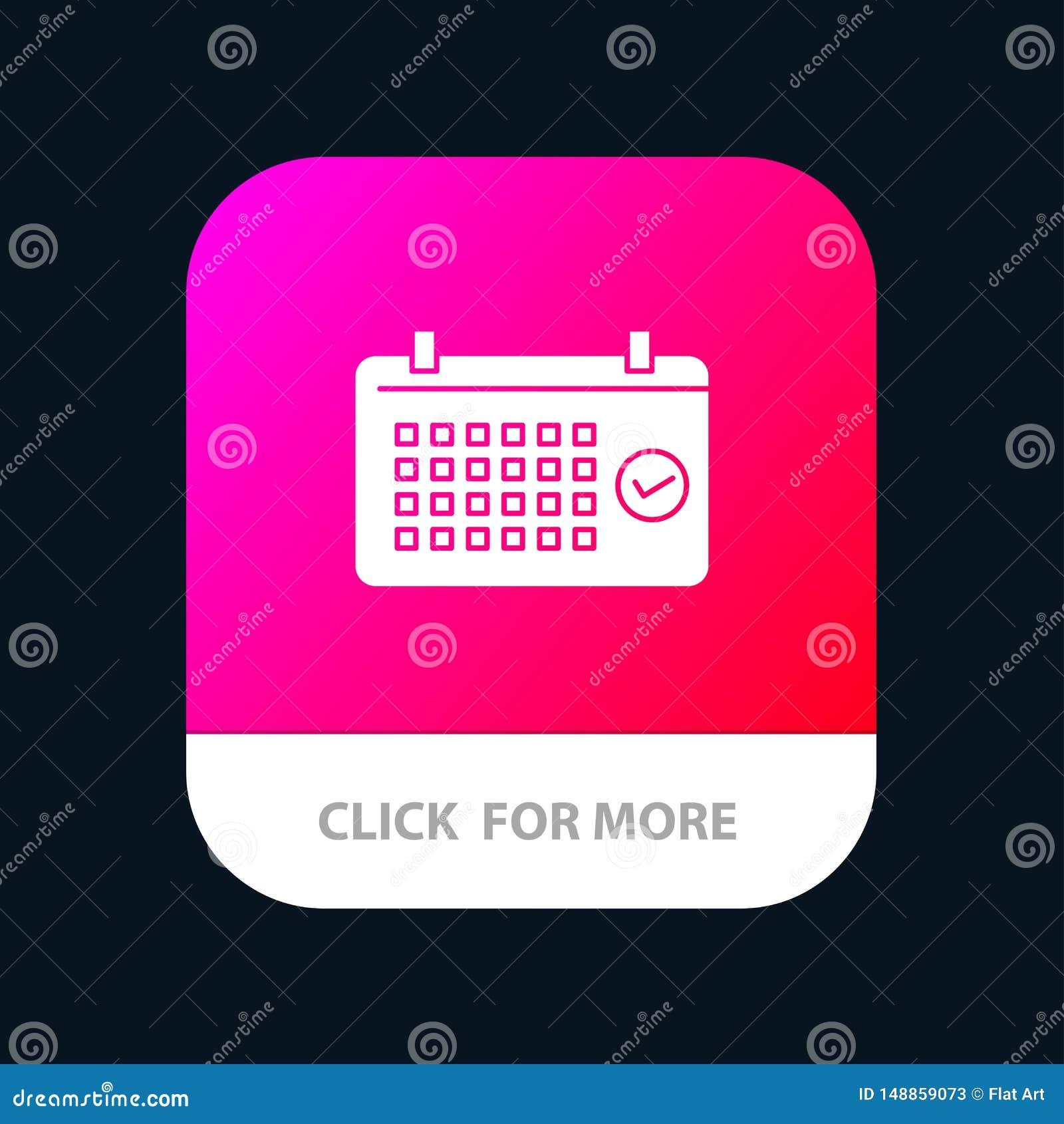 Calendrier, date, mois, année, bouton mobile d appli de temps Android et version de Glyph d IOS