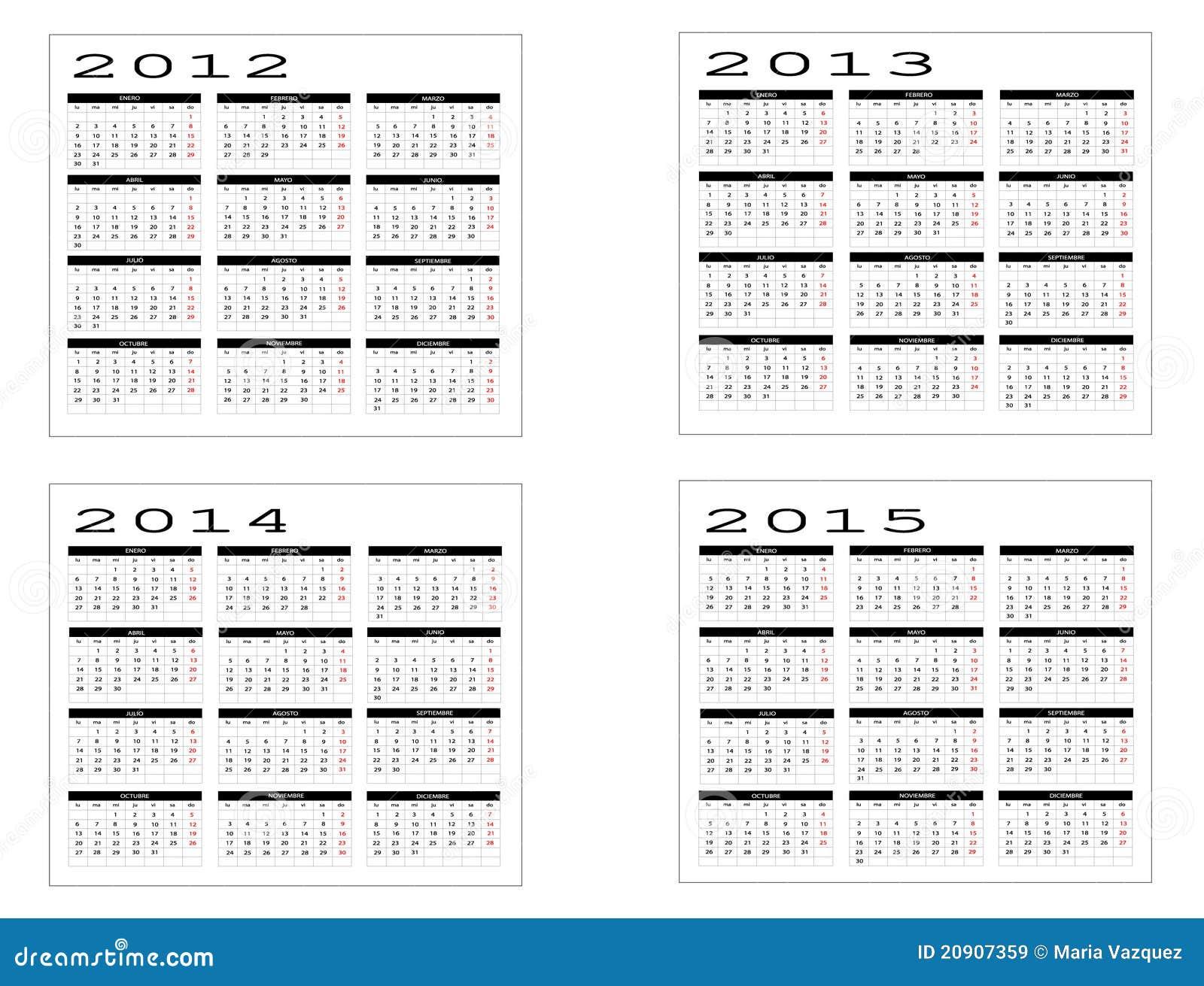 Images libres de droits: Calendrier de 2012 à 2015