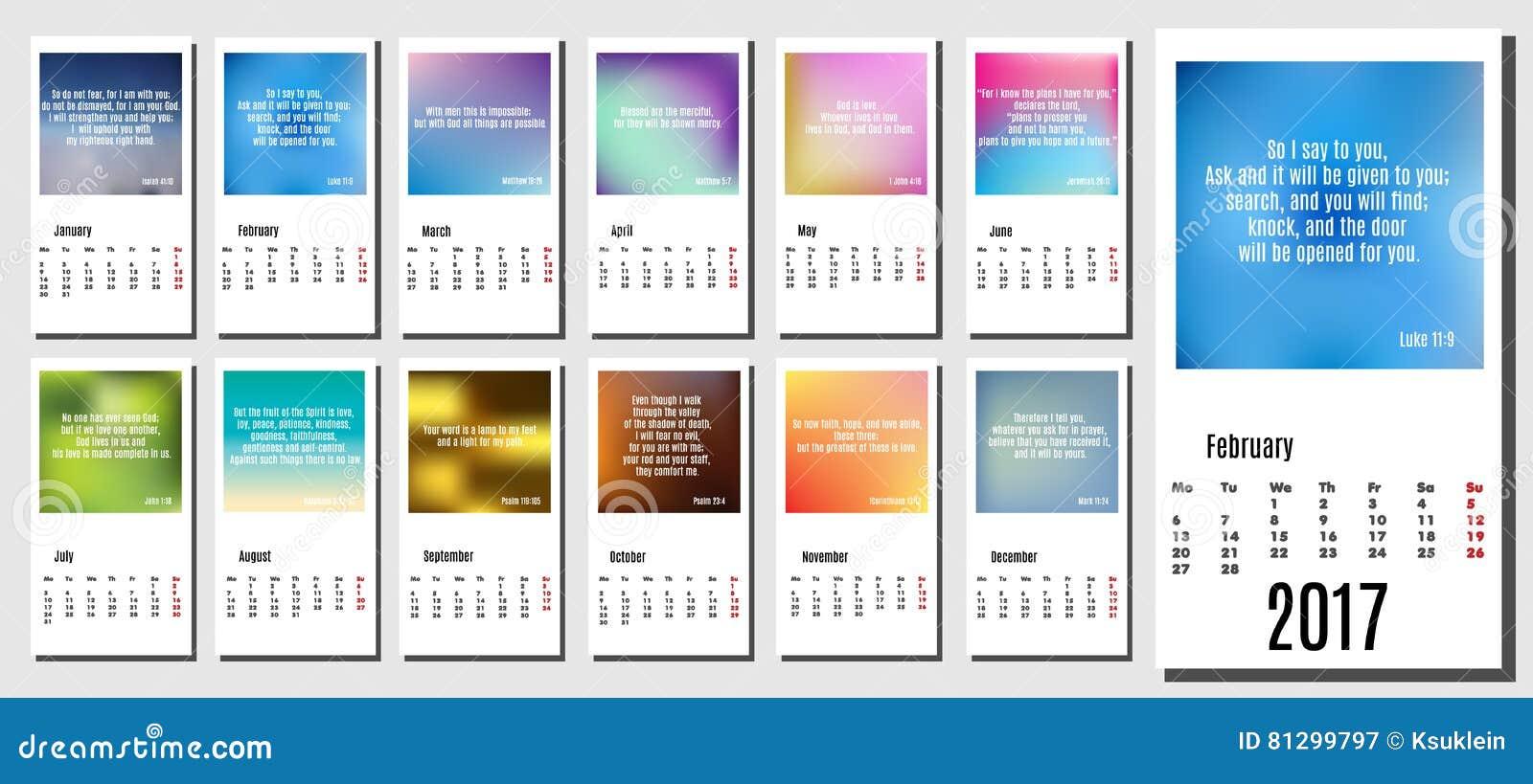 Calendrier Biblique.Calendrier De 2017 Ans Avec Les Milieux Les Citations De