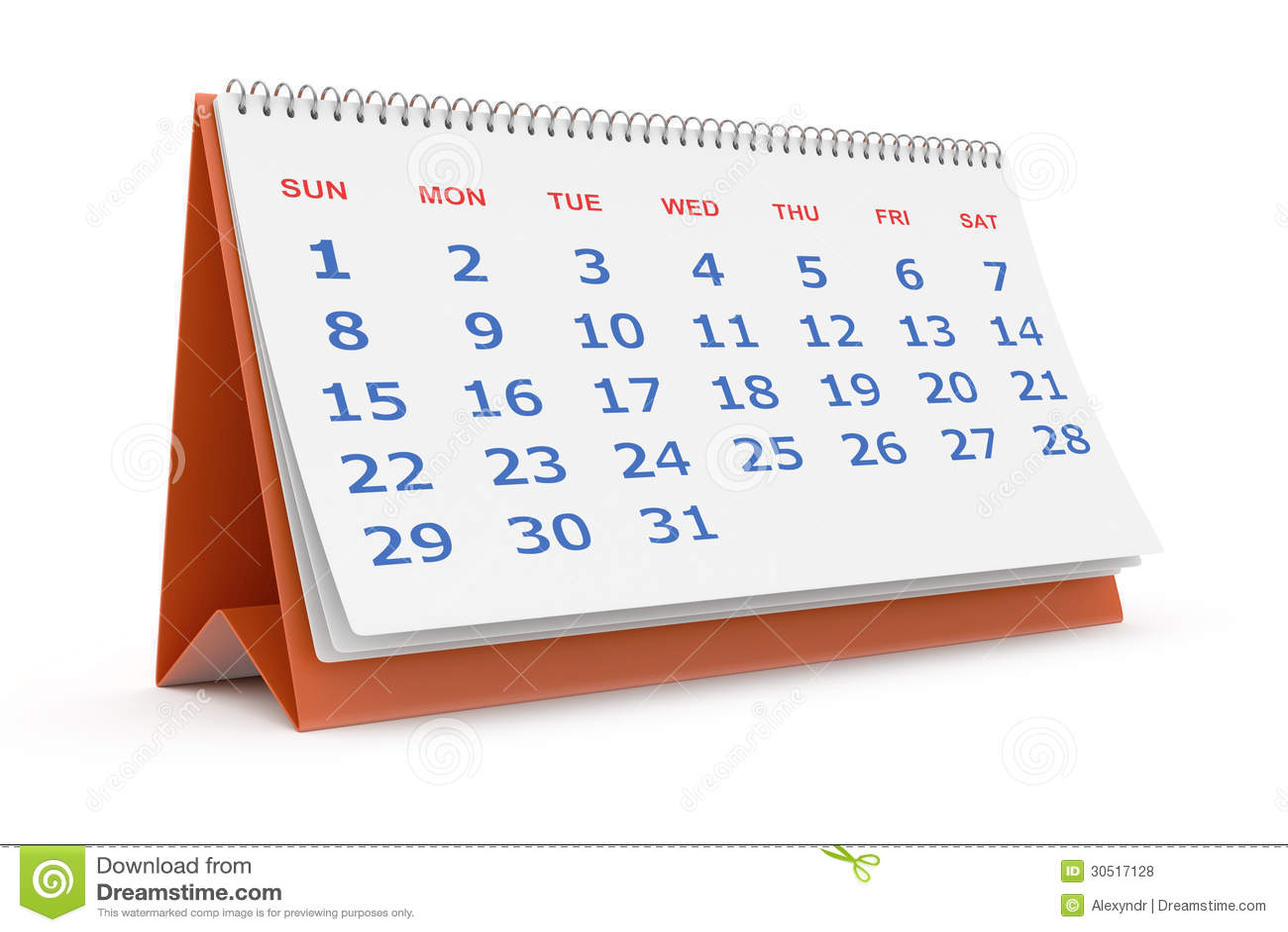 calendrier de bureau illustration stock illustration du jour 30517128. Black Bedroom Furniture Sets. Home Design Ideas