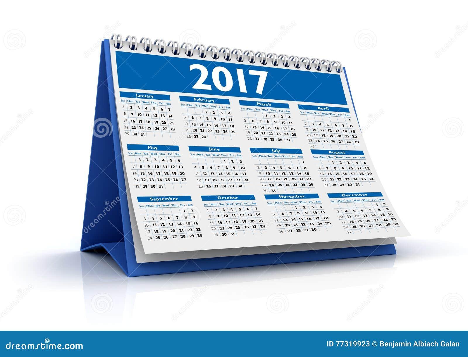 calendrier de bureau 2017 illustration stock image 77319923. Black Bedroom Furniture Sets. Home Design Ideas
