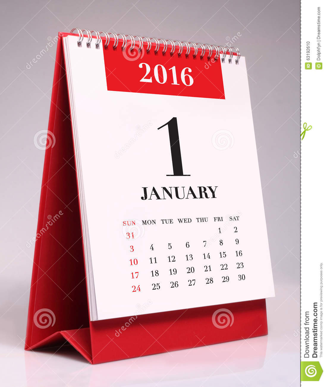 Calendrier de bureau simple 2016 janvier photo stock image du jour bureau 63192610 - Calendrier de bureau photo ...