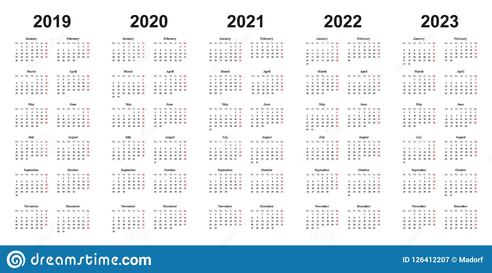 Calendrier 2019 Et 2022 Calendrier De Conception Simple Avec Des Années 2019, 2020, 2021