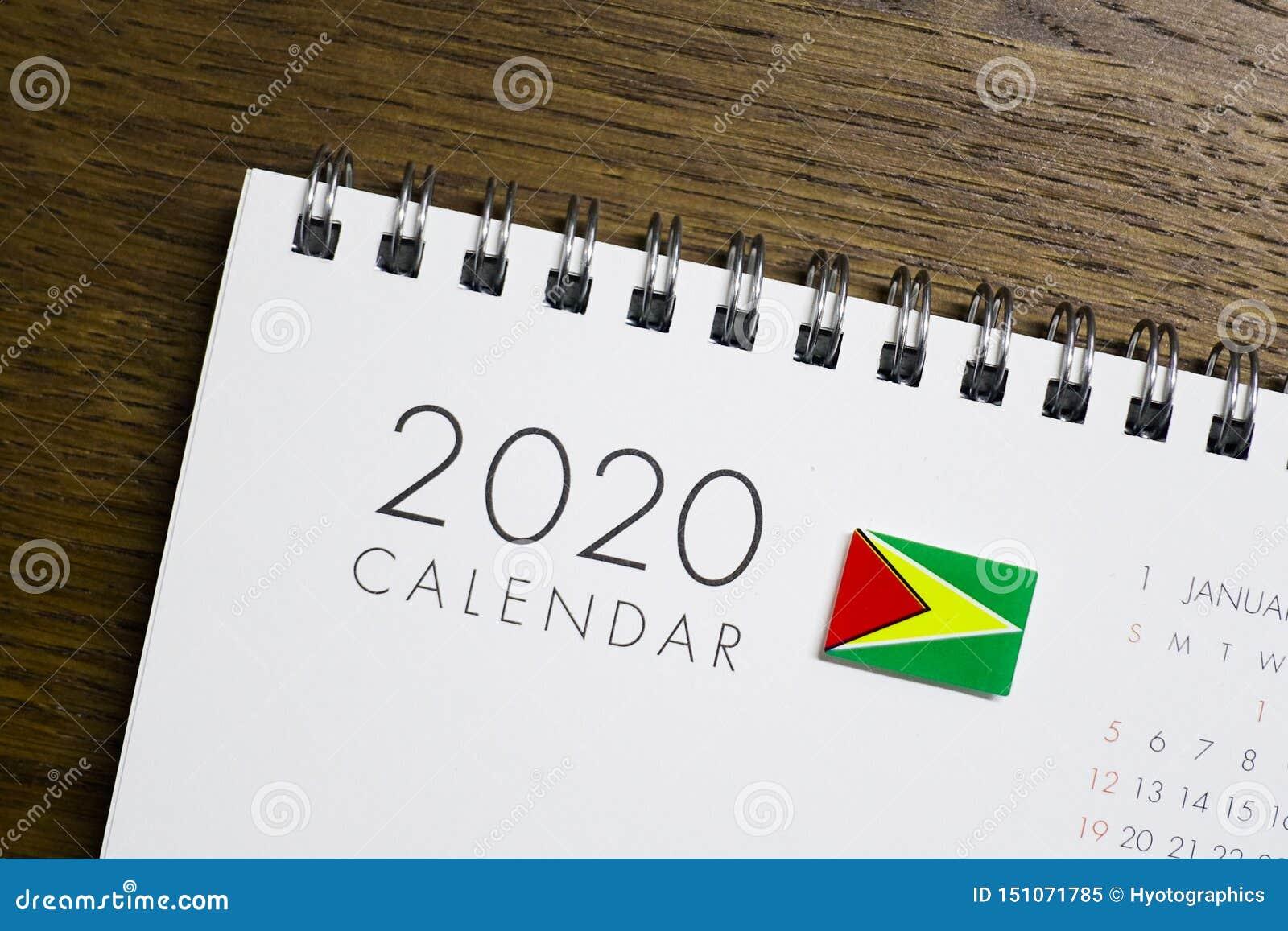 Calendrier de drapeau de la Guyane le 2020