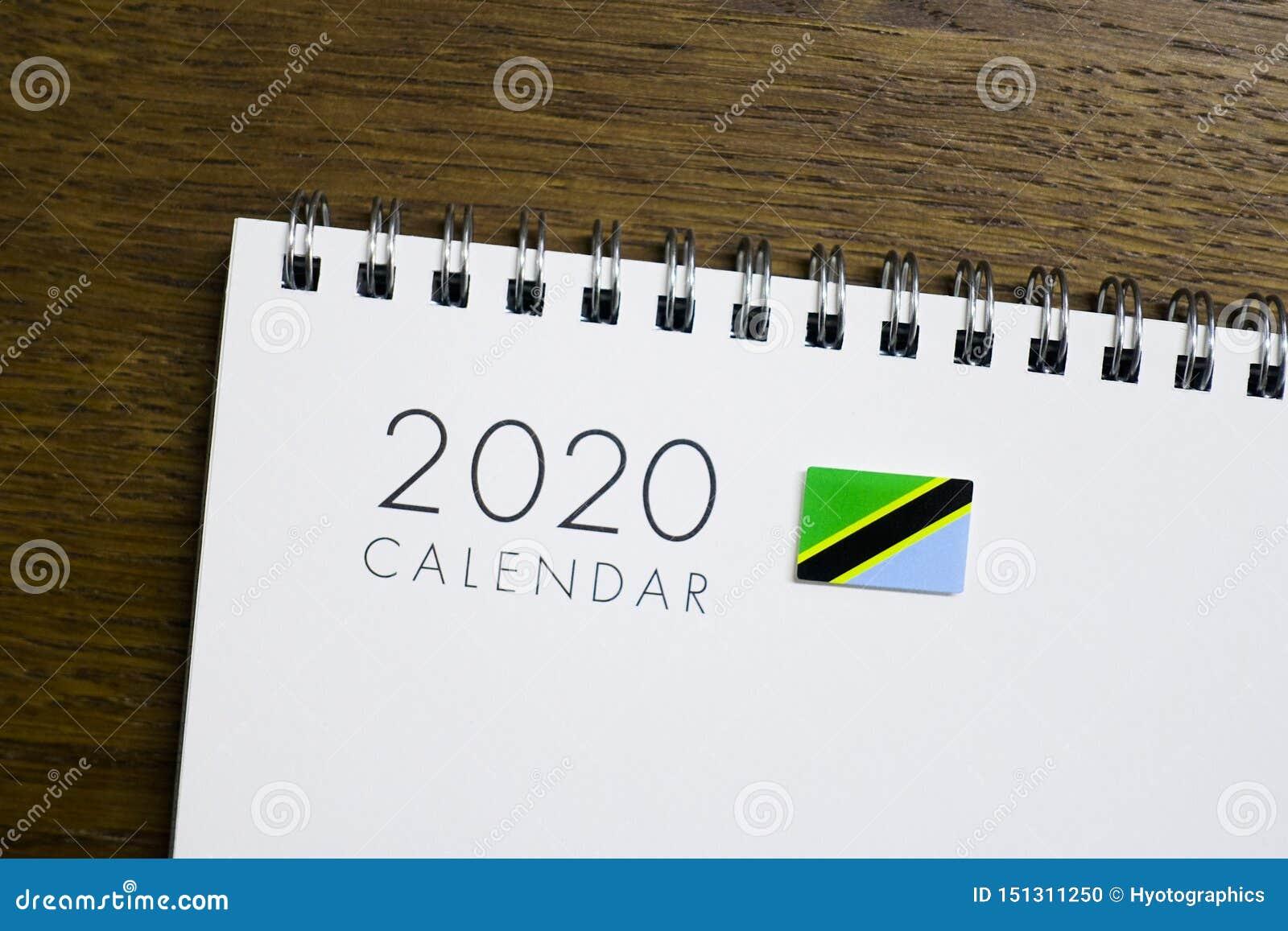 Calendrier de drapeau de la Tanzanie le 2020