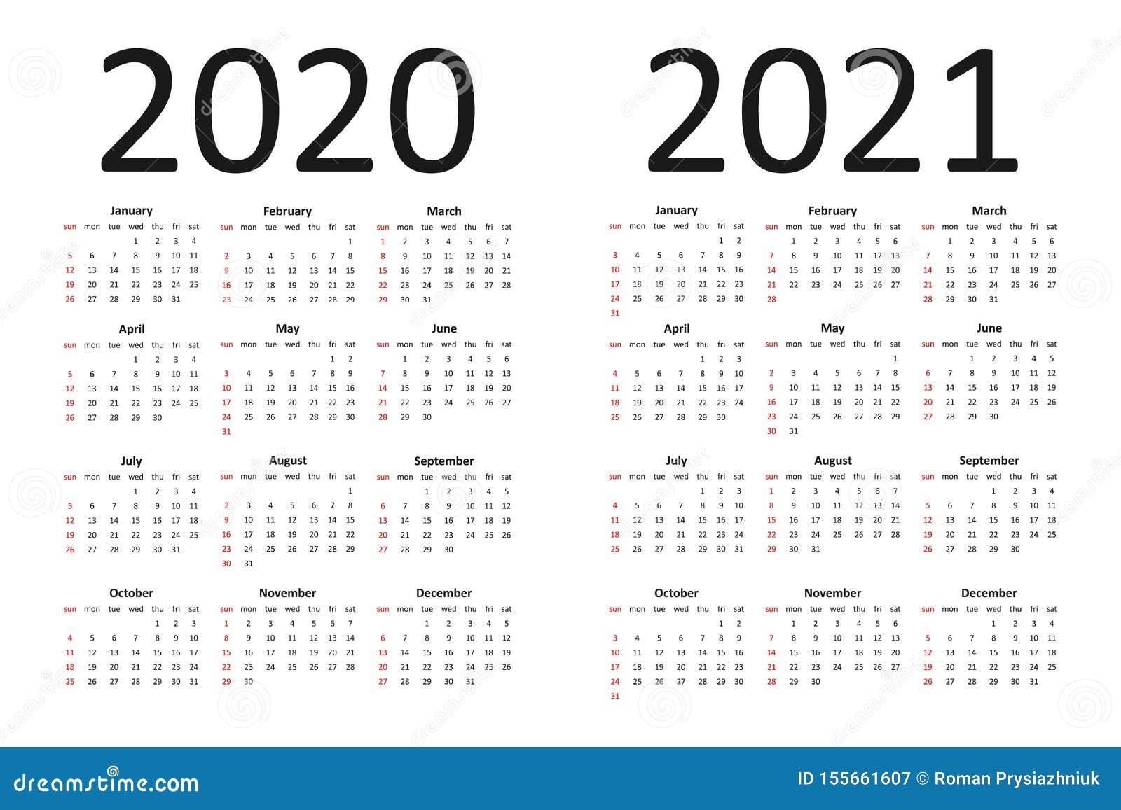 Calendrier De 2020 Et 2021 Ans Calibre Simple De Calendrier Avec