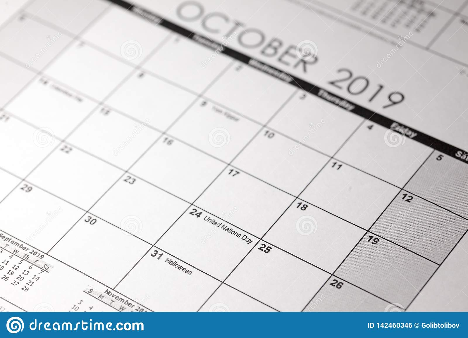 Calendrier de Halloween avec la date du 31 octobre