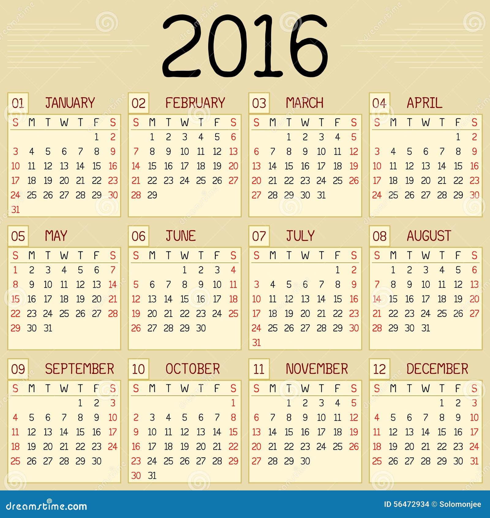calendrier de l 39 ann e 2016 illustration de vecteur image 56472934. Black Bedroom Furniture Sets. Home Design Ideas