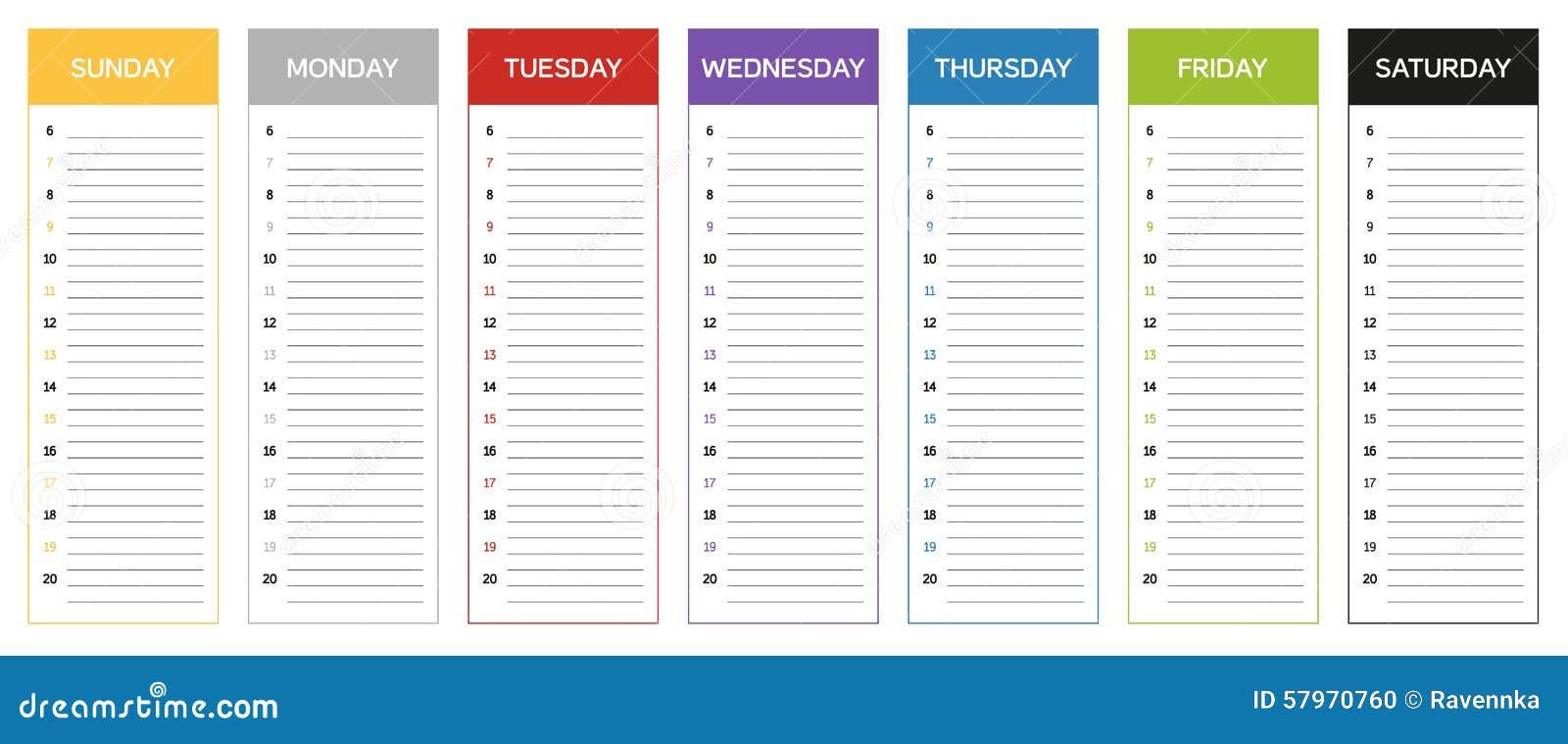 Calendrier De Planification Semaine En Couleurs Du Jour