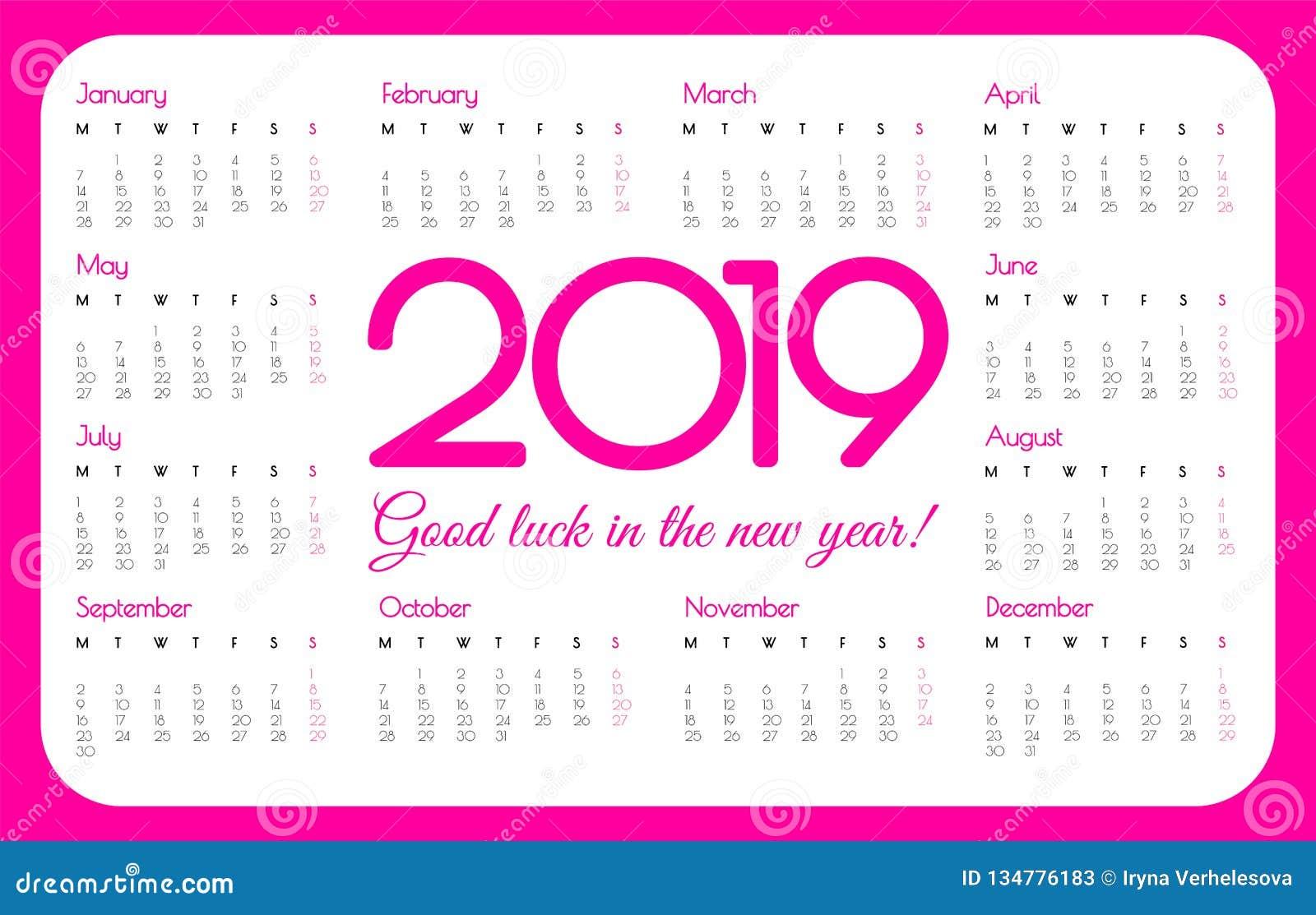 Calendrier De Poche 2019.Calendrier De Poche De 2019 Ans Couleur Rose Conception