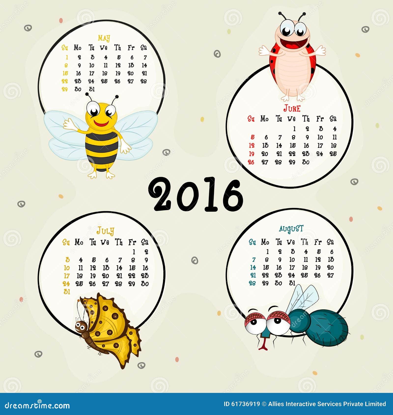 Calendrier De Quatre Mois De 2016 Image Stock Image Du