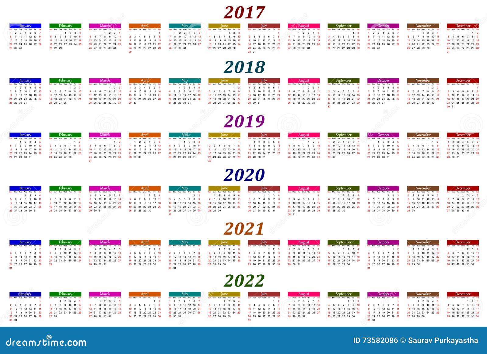 Calendrier 2017 2021 2022 Calendrier De Six Ans   2017, 2018, 2019, 2020, 2021 Et 2022