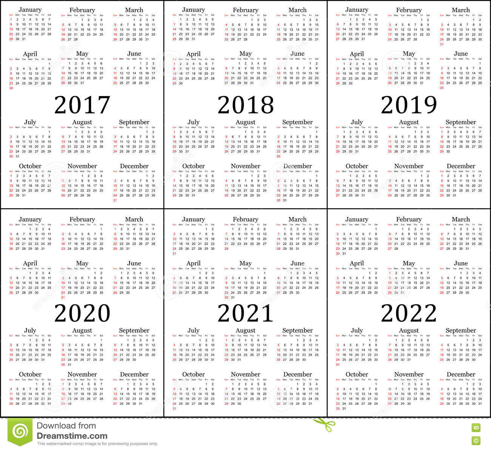 Calendrier De Six Ans 2017 2018 2019 2020 2021 Et
