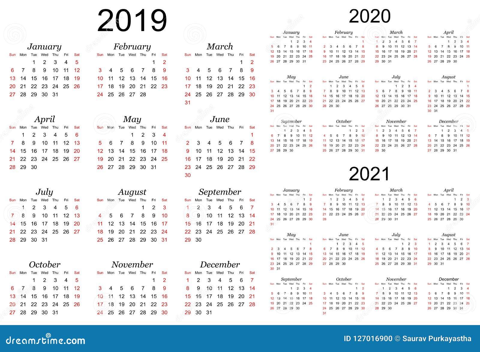Calendrier Grégorien 2021 Calendrier De Trois Ans De Vecteur   2019, 2020 Et 2021