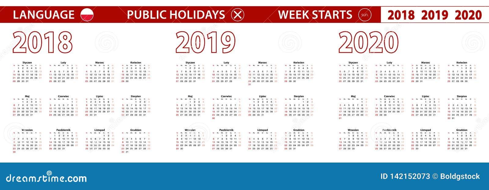 Semaine 2019 Calendrier.2018 2019 Calendrier De Vecteur De 2020 Ans Dans La Langue