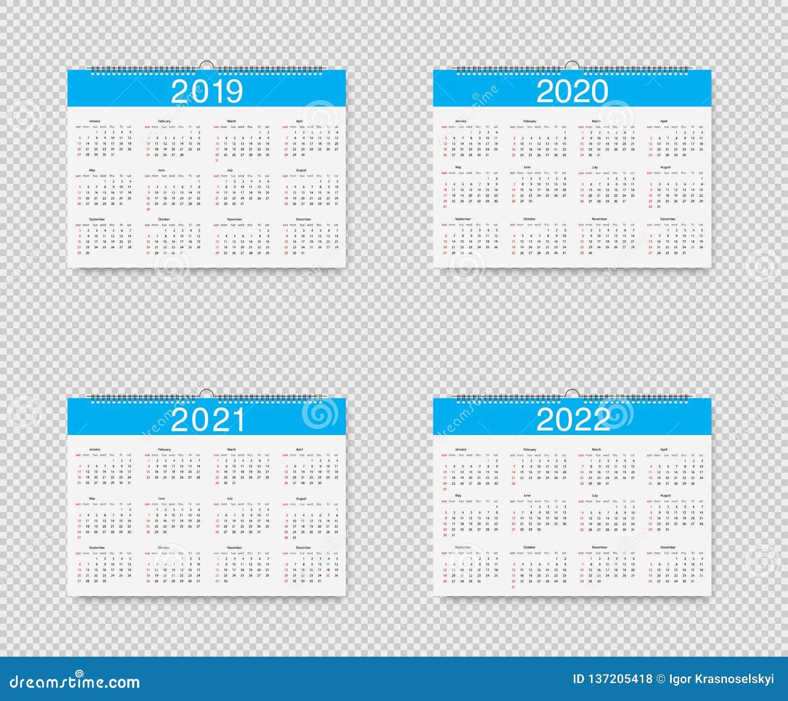 Calendrier Pour La Classe 2021 2022 Calendrier De Vecteur De 2019, 2020, 2021 Et 2022 Ans La Feuille