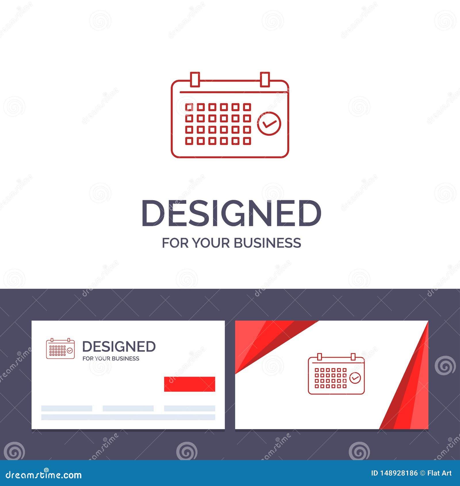 Calendrier de visite de calibre créatif de carte de visite professionnelle et de logo, date, mois, année, illustration de vecteur