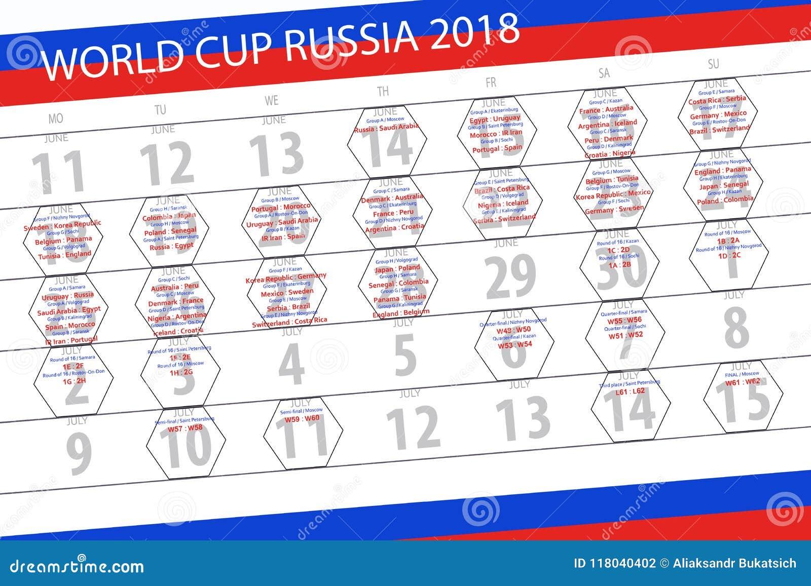 Coupe Du Monde De Football Calendrier.Calendrier Des Matchs De La Coupe Du Monde En Russie 2018