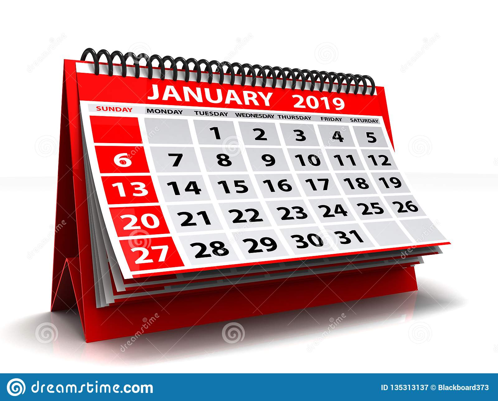Calendrier en janvier 2019 en spirale Janvier 2019 calendrier à l arrière-plan blanc illustration 3D