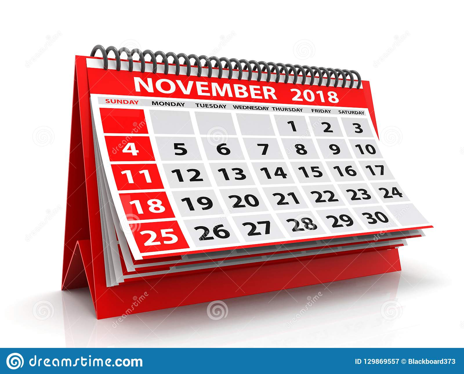 Calendrier en novembre 2018 en spirale Novembre 2018 calendrier à l arrière-plan blanc illustration 3D