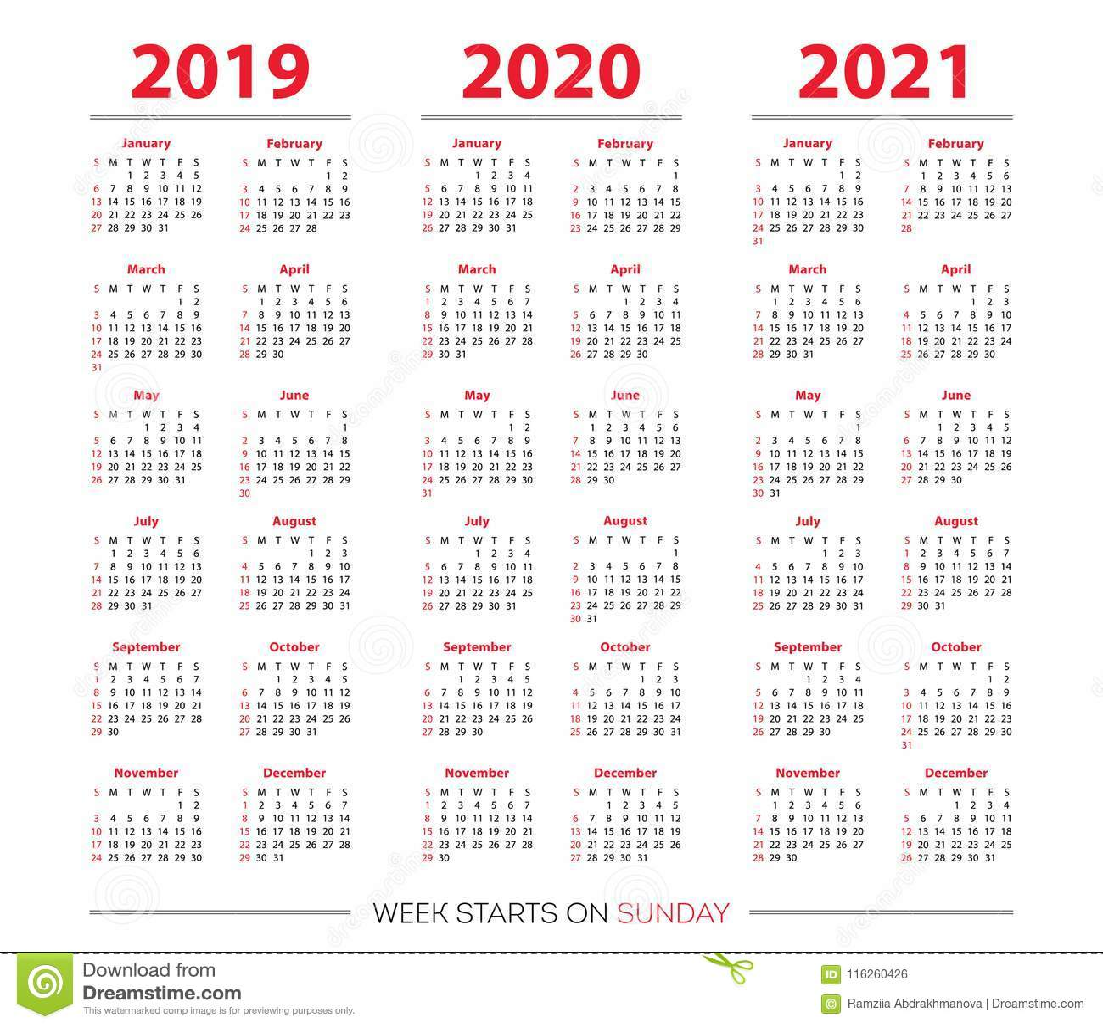Calendrier 2019 Et 2021 Calendrier 2019, Ensemble 2020 Et 2021 Débuts De Semaine Dimanche