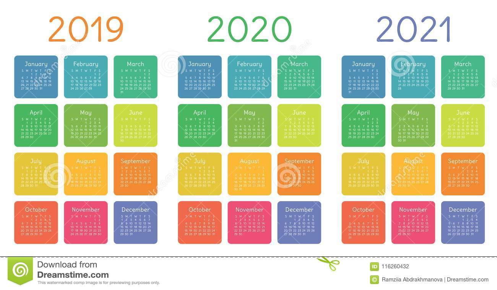 Calendrier 2019, Ensemble 2020 Et 2021 Débuts De Semaine Dimanche