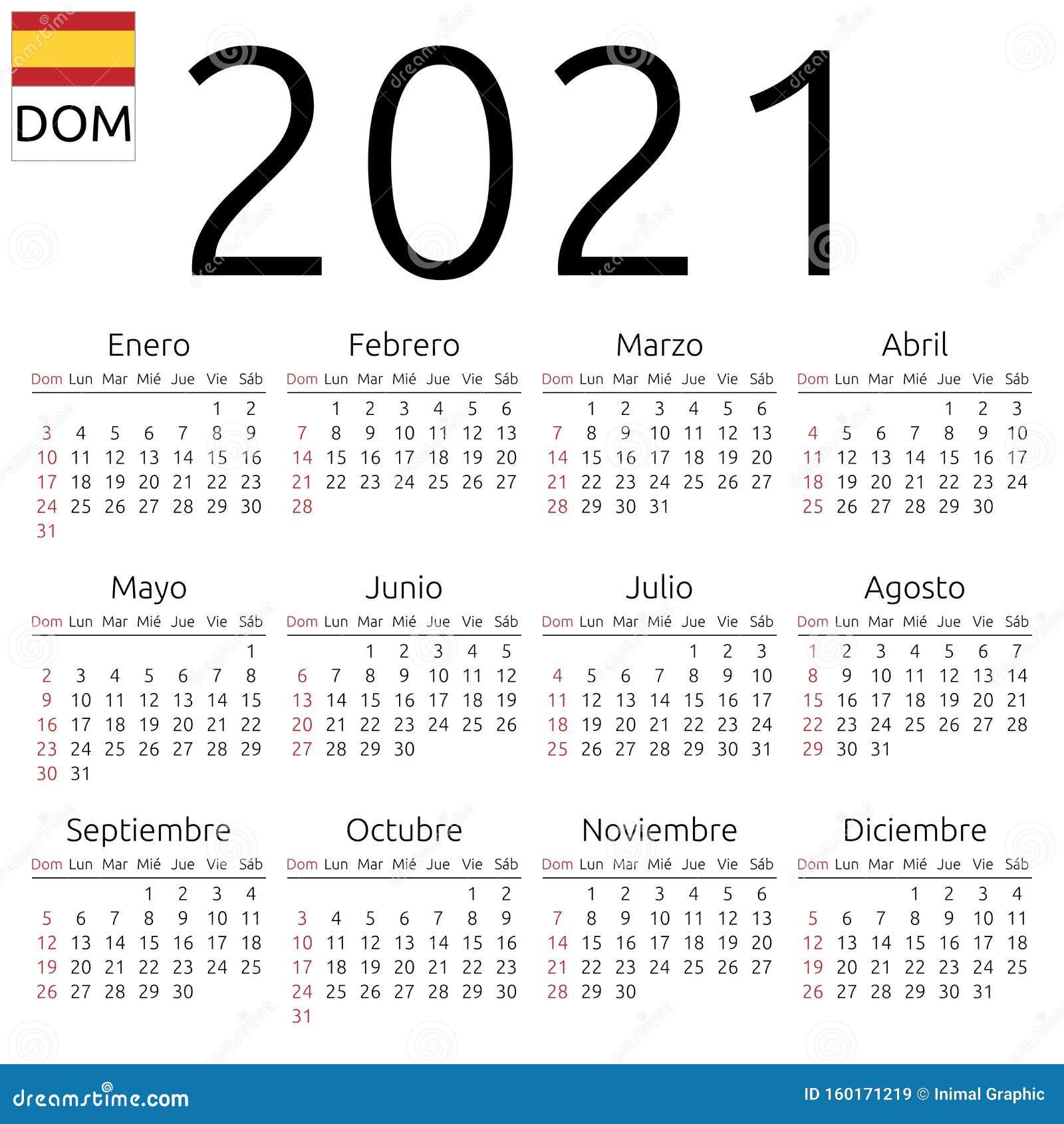 Calendrier 2021, Espagnol, Dimanche Illustration de Vecteur