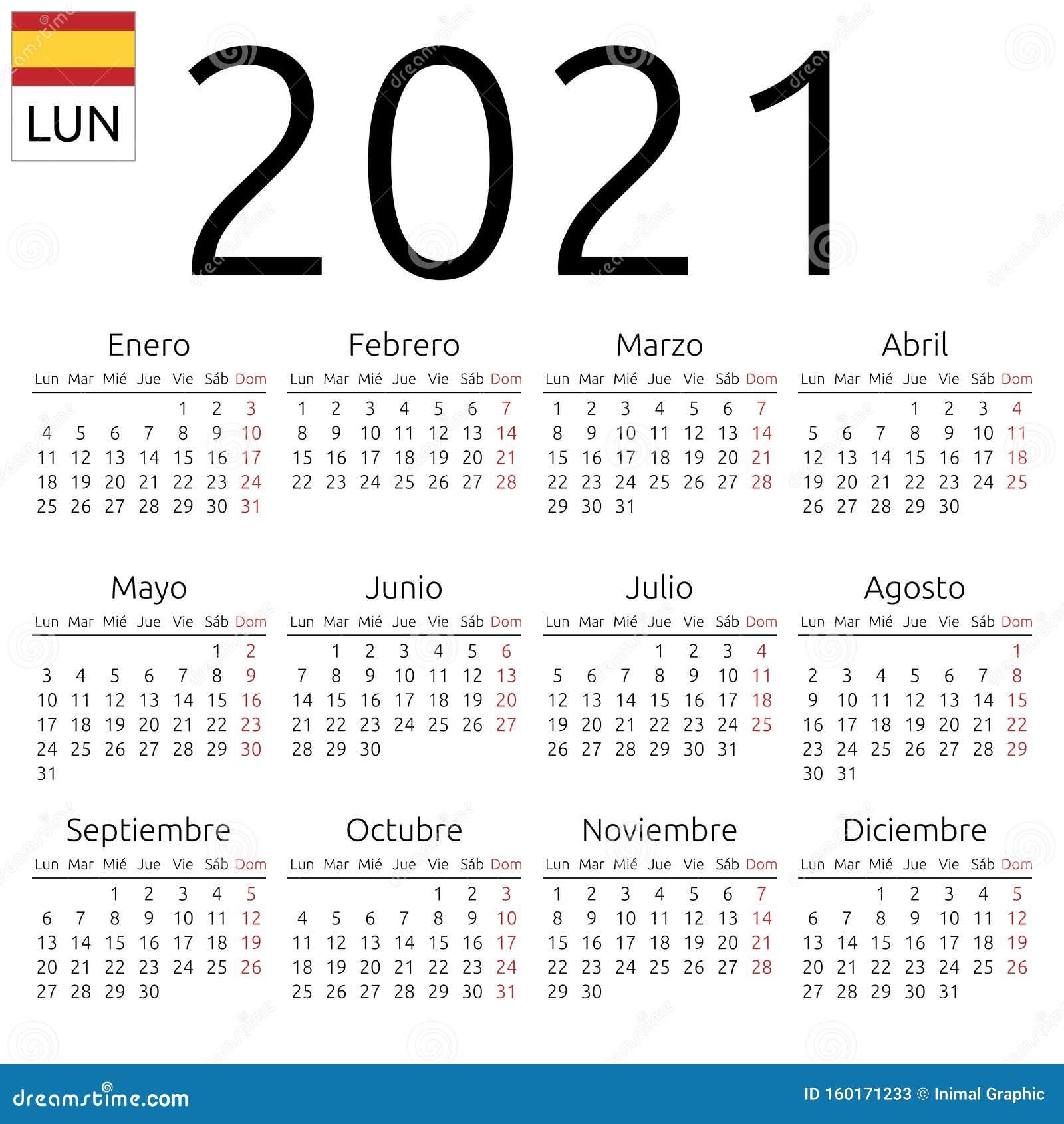 Calendrier 2021, Espagnol, Lundi Illustration de Vecteur