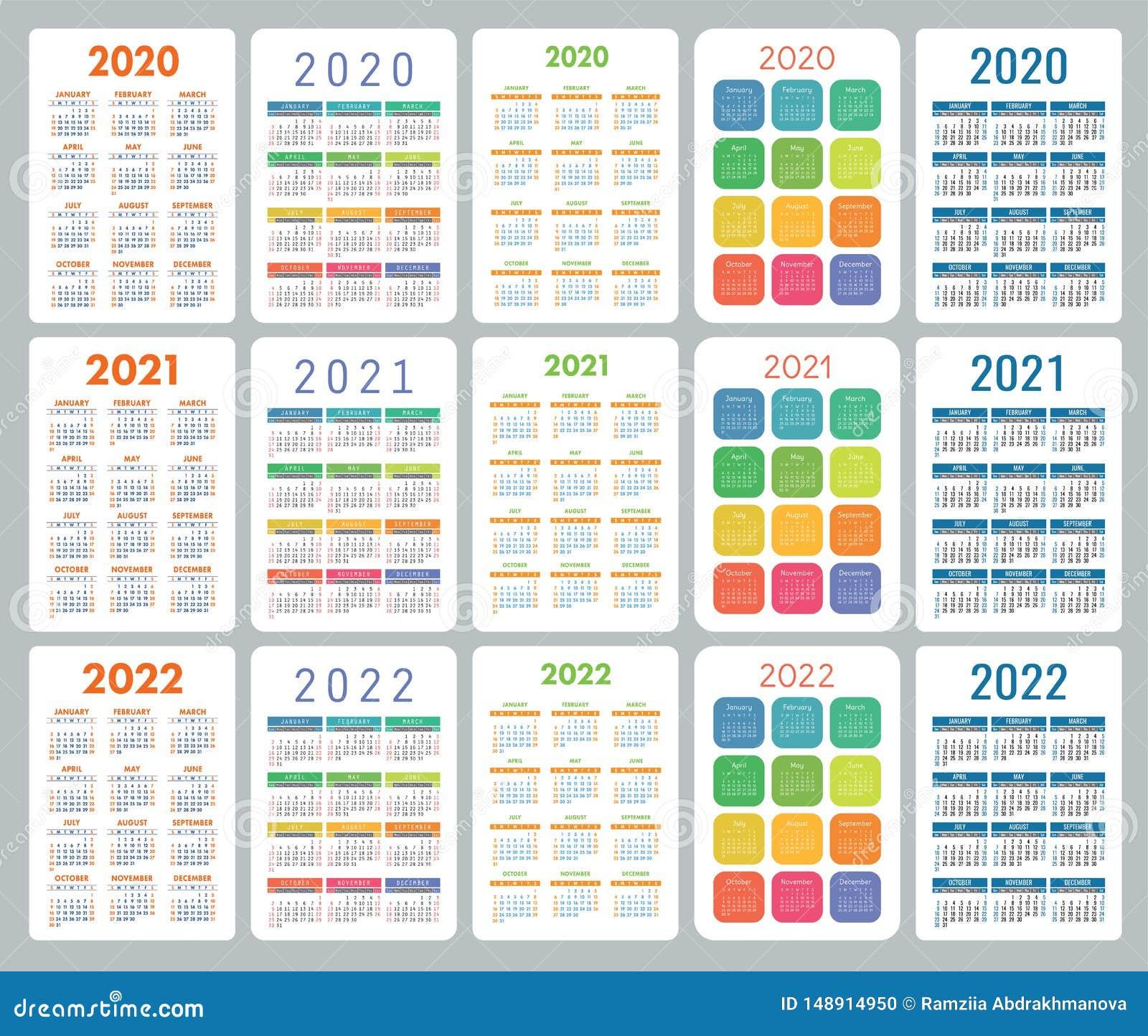 Calendrier 2020 Semaine.Calendrier 2020 2021 Et 2022 Ans Ensemble Color De Vecteur