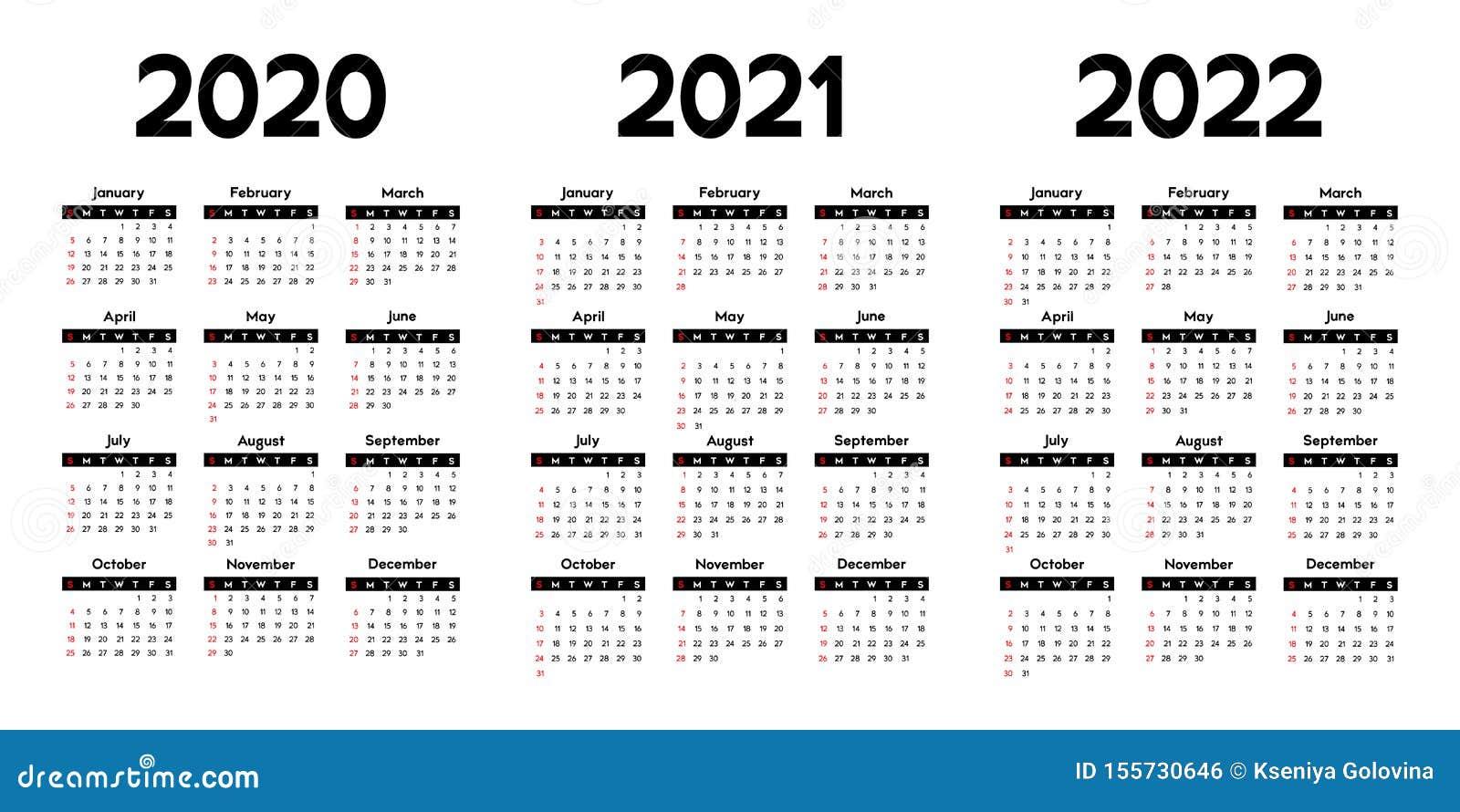 Calendrier 2020, 2021 Et 2022, Débuts De Semaine Dimanche