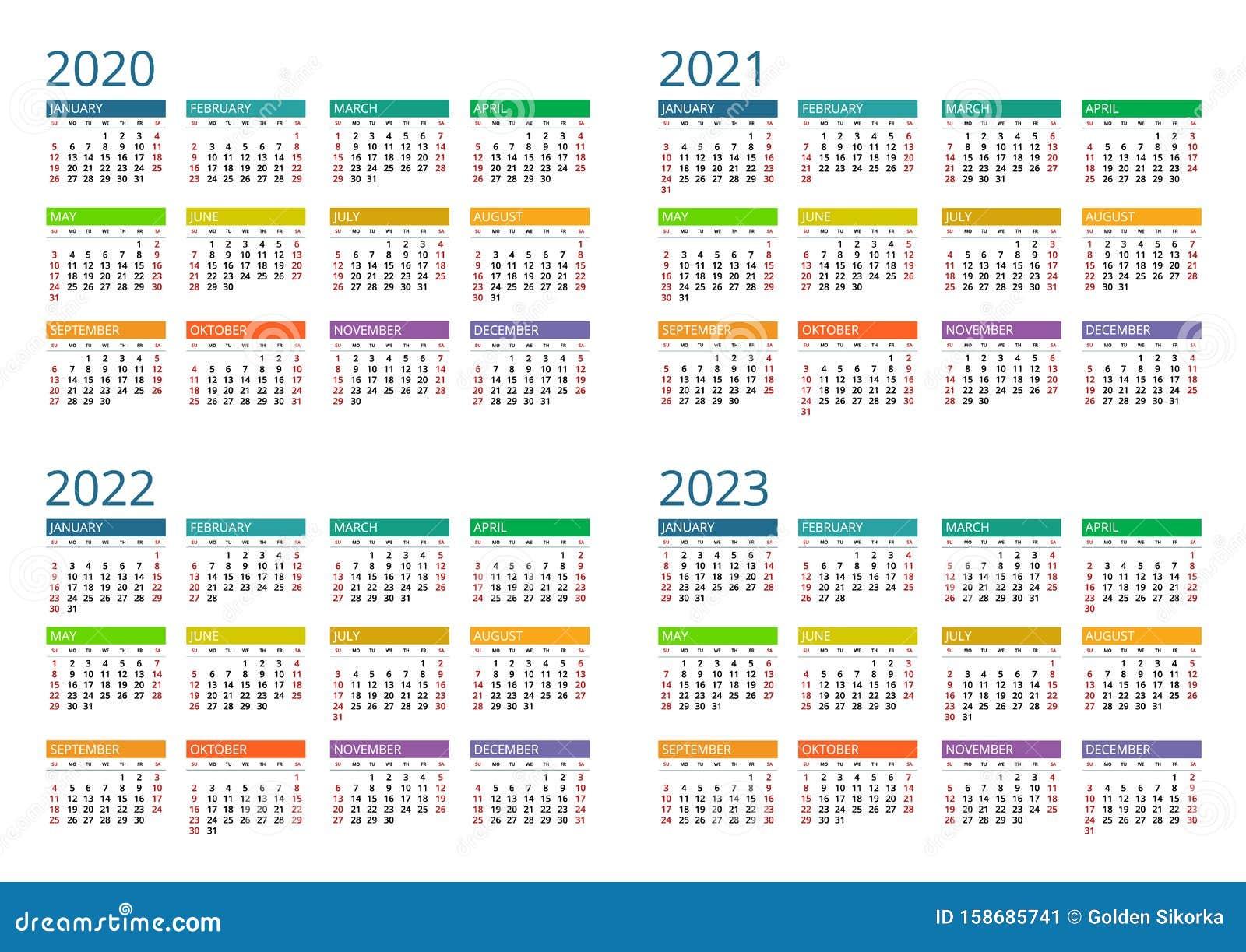 Calendrier à Imprimer 2022 2023 Calendrier 2020, 2021, 2022 Et 2023 Imprimer Le Modèle Semaine