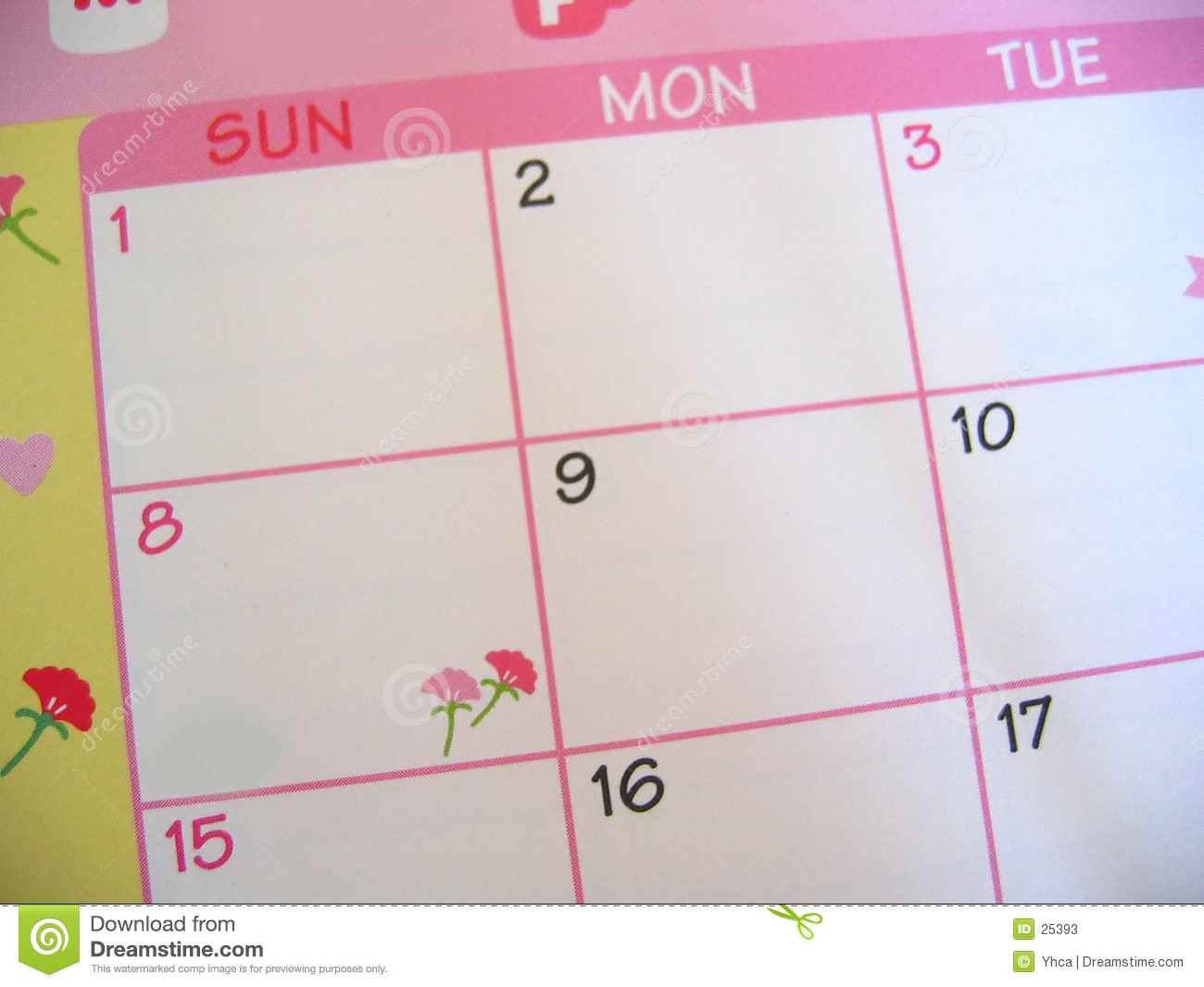Calendrier floral rose