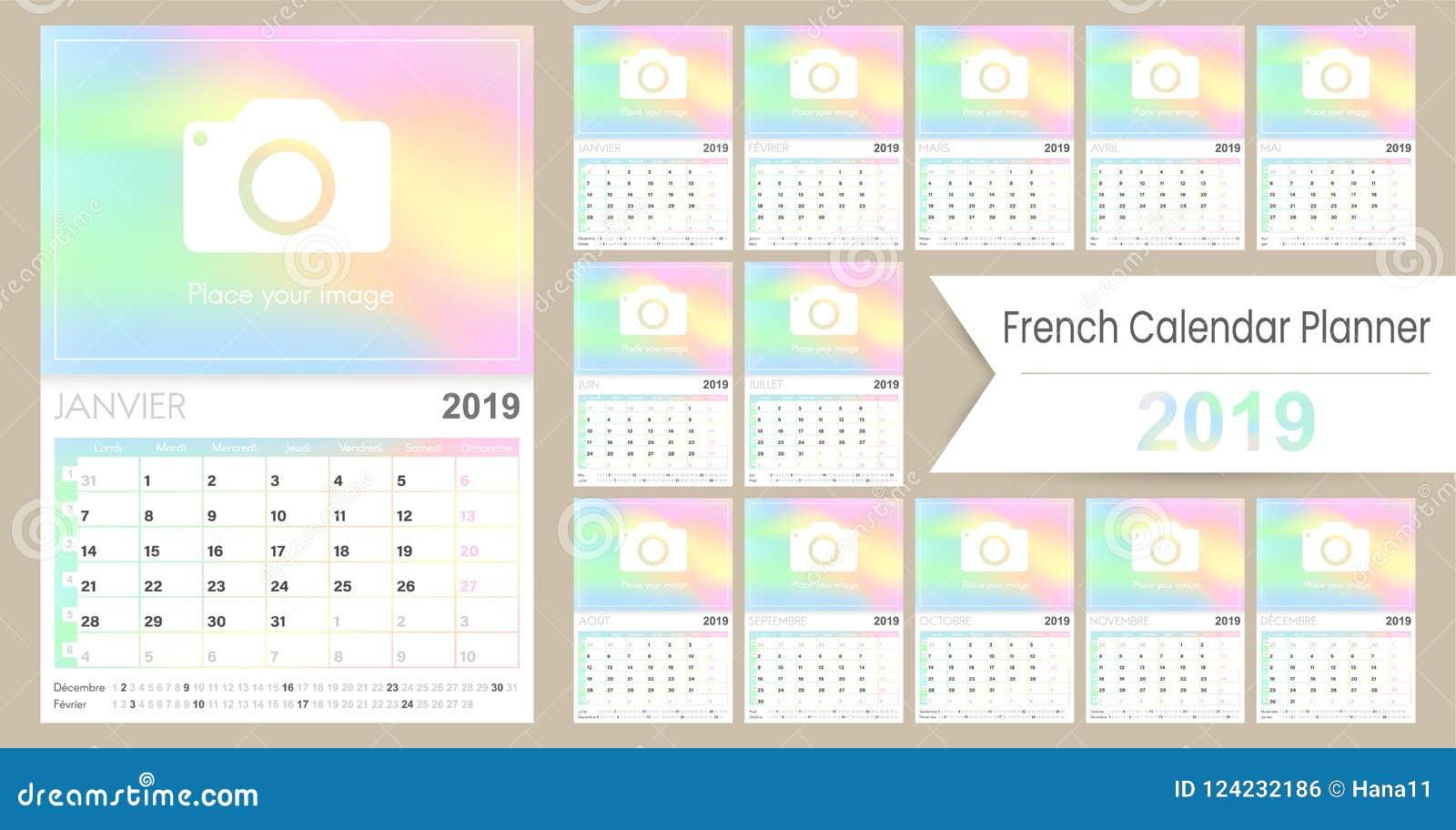 Calendrier Francais 2019.Calendrier Francais 2019 De Planification Illustration De