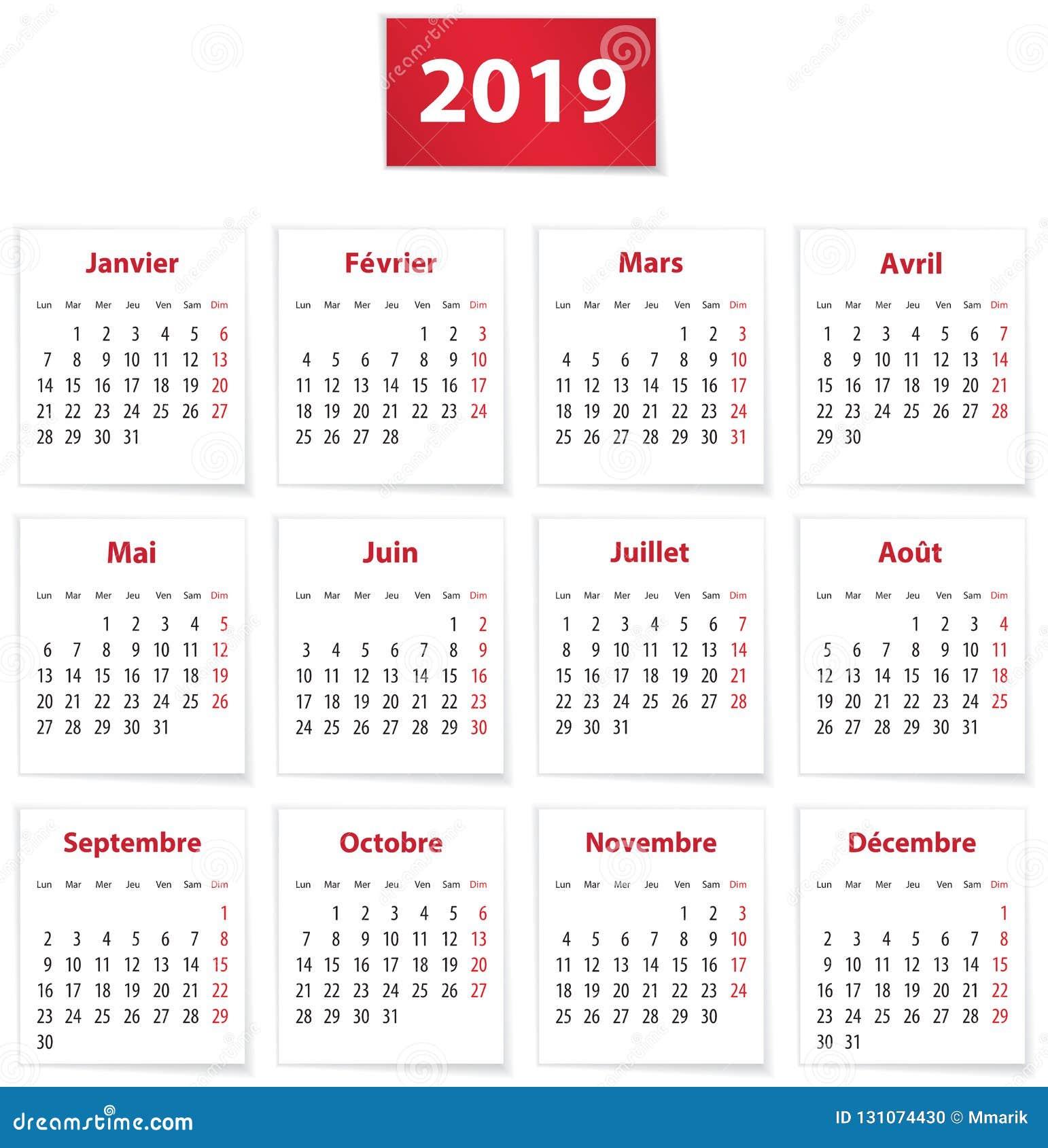 Calendrier Francais 2019.Calendrier 2019 Francais Sur Les Livres Blancs Illustration