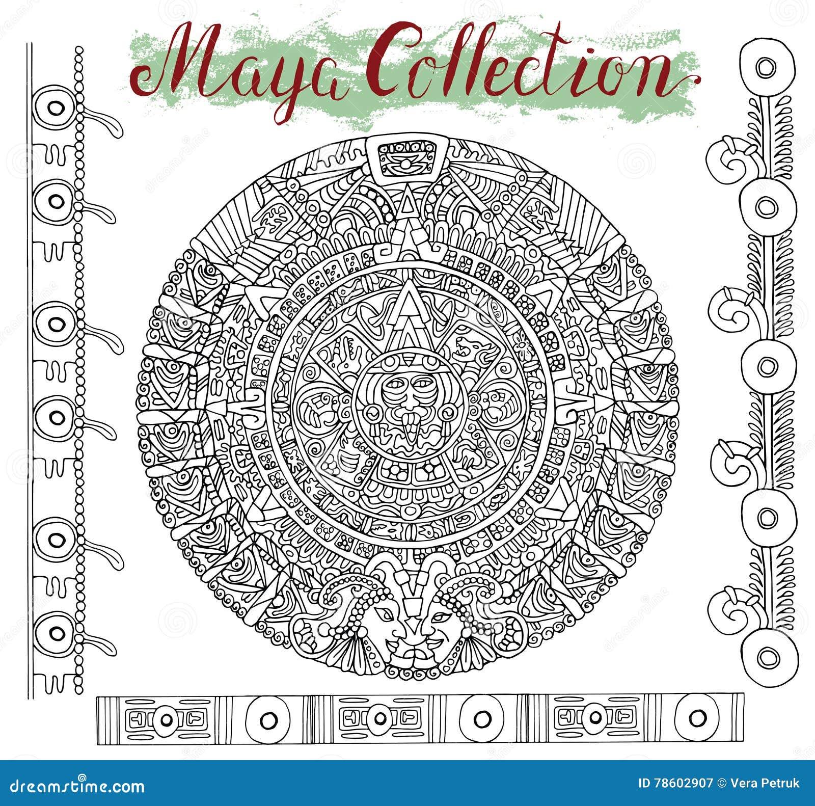 Calendrier Maya Dessin.Calendrier Graphique De Maya Avec Des Symboles Mystiques