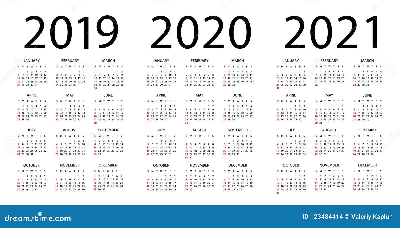 Calendrier 2019 Et 2021 Calendrier 2019 2020 2021   Illustration Débuts De Semaine