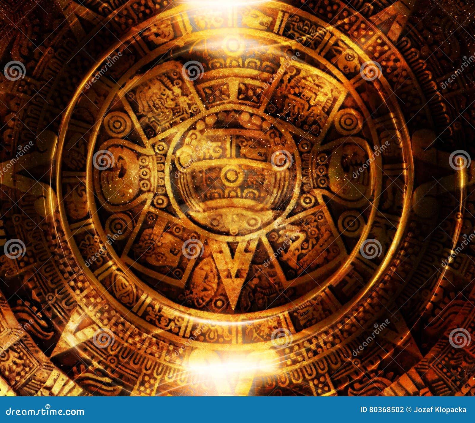 Calendrier Maya Dessin.Calendrier Maya Antique Espace Cosmique Et Etoiles Fond