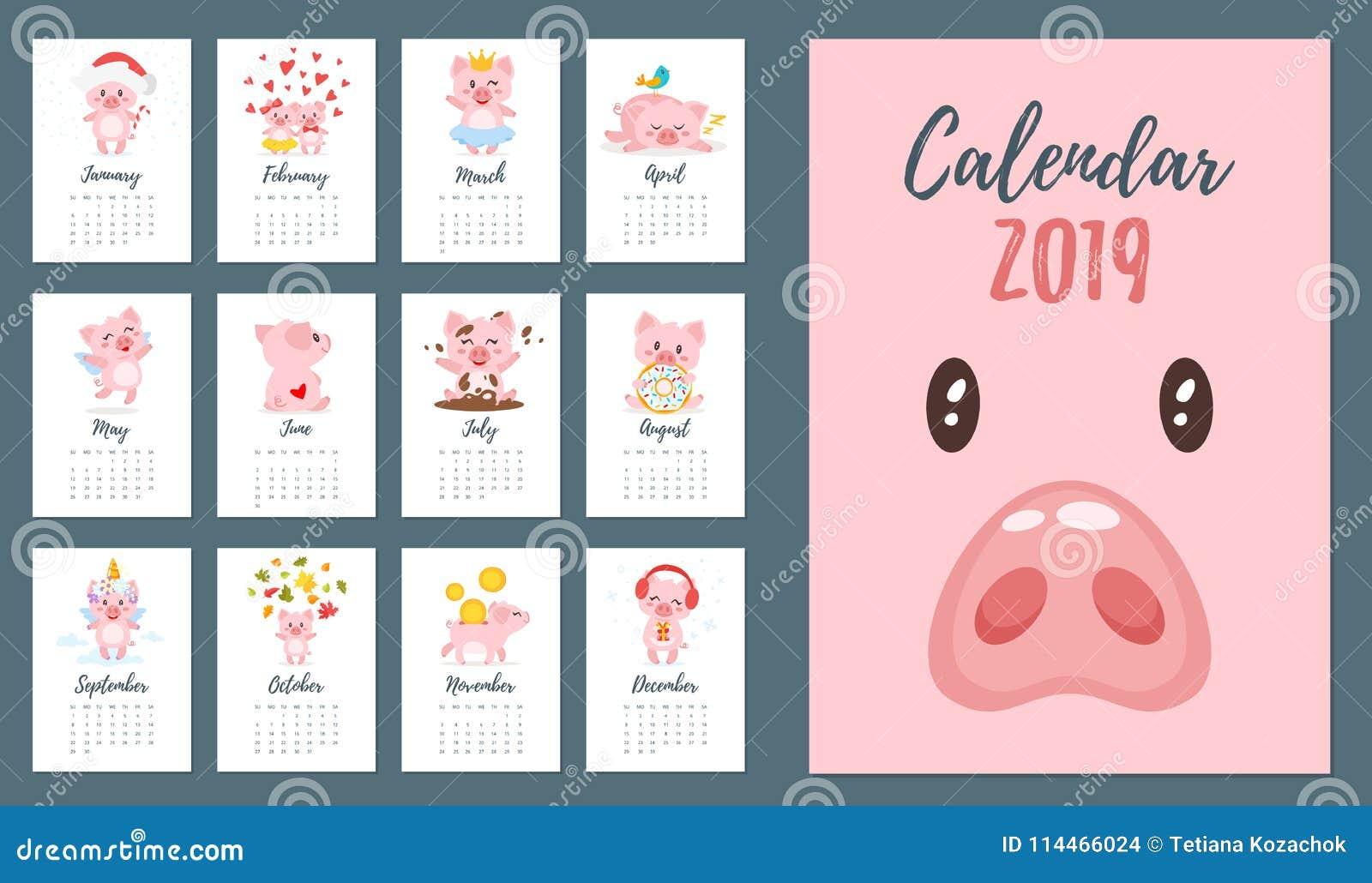 Calendrier 2019 mensuel d année de porc