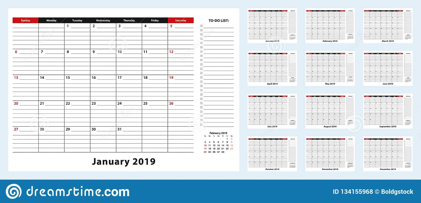 Calendrier Mensuel Decembre 2019.Calendrier Mensuel De Protection De Bureau De Vecteur