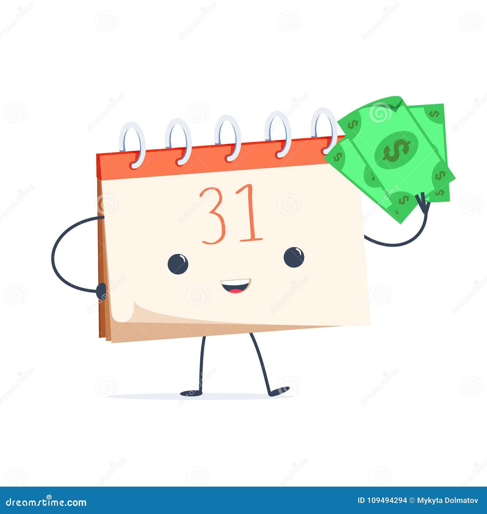 Calendrier mignon de bande dessinée avec l argent L extrémité du salaire de mois Heure de payer le concept