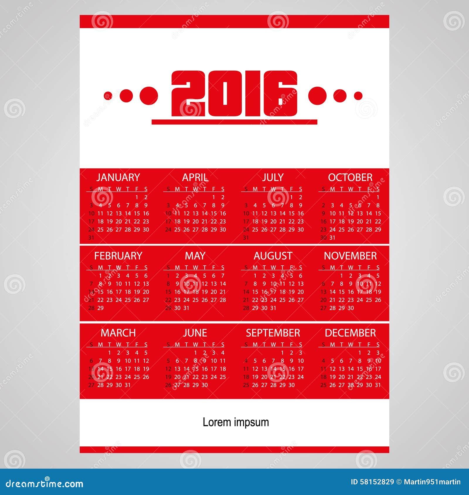 Calendrier mural rouge des affaires 2016 simples avec le for Calendrier digital mural
