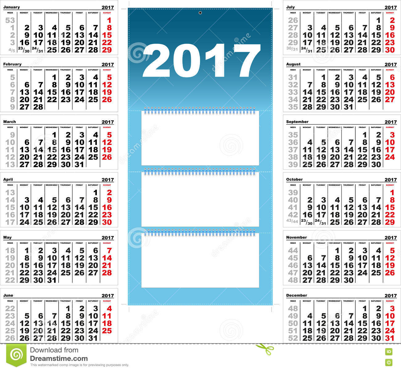 Calendrier mural trimestriel pour 2017 illustration de for Calendrier mural 2017