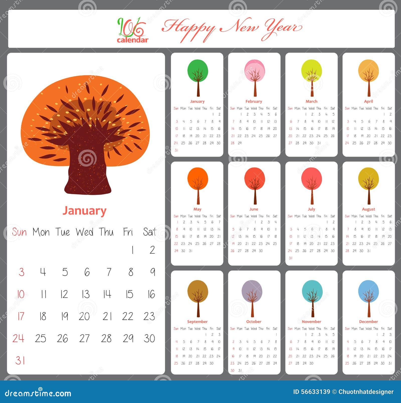 Calendrier peu commun pour 2016 avec des arbres de saison illustration de vecteur image 56633139 - Date des saisons 2016 ...