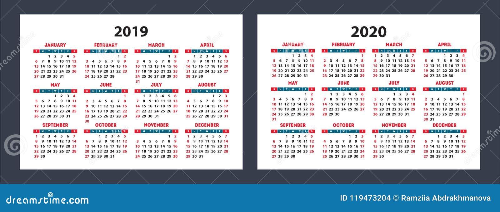 Calendrier De Poche 2019.Calendrier 2019 Poche 2020 Grille De Base De Vecteur