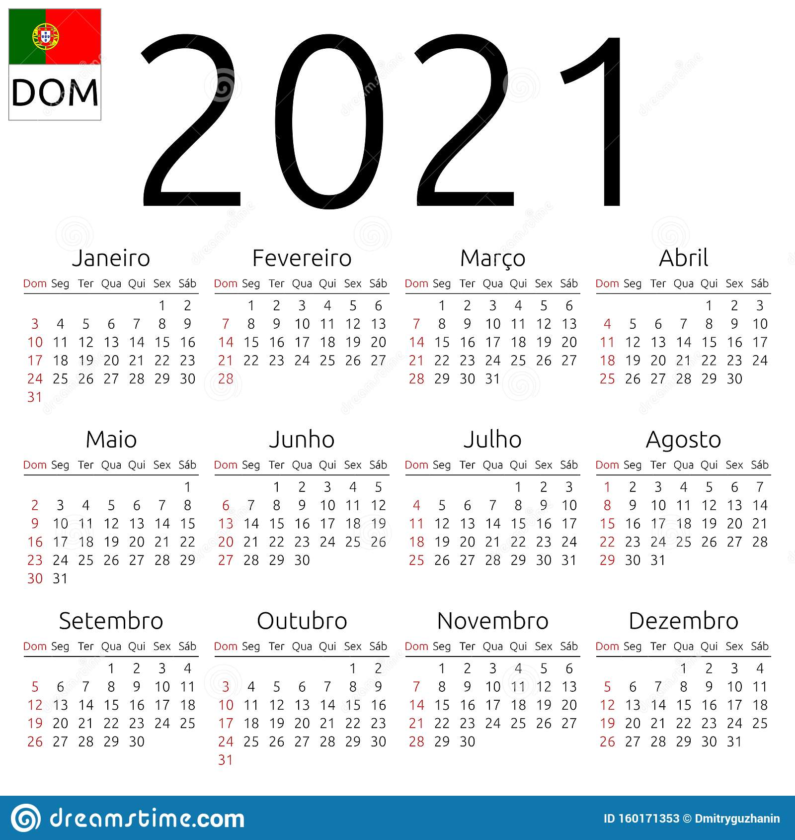 Calendrier 2021, Portugais, Dimanche Illustration de Vecteur